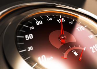 détail d'un compteur de vitesse de voiture