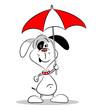 A cartoon dog holding an umbrella on a white background