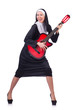 Nun playing guitar isolated on white