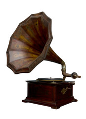 Classic Gramophone on white background