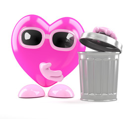 3d Heart throws rubbish in the bin