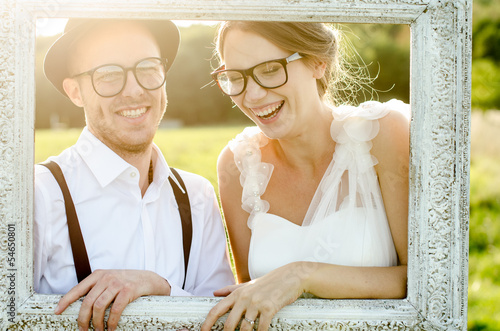Happy couple on wedding day. Vintage wedding.