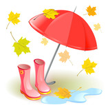 umbrella, rubber boots, autumn leaves