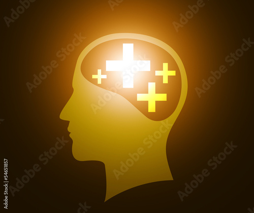 Human head with positive thinking
