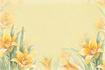 Watercolor background with illustration of lily flower. Perfect
