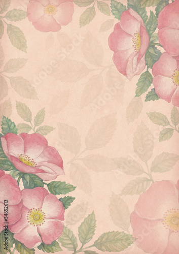 Artistic background with watercolor illustration of dog-rose