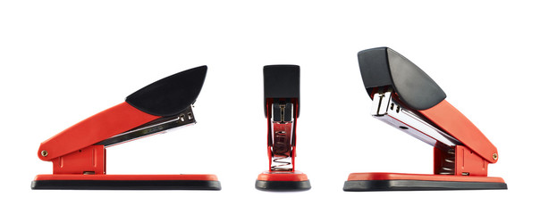 Red office stapler isolated