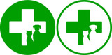 Fotoroleta green veterinary icons