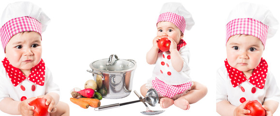 Collage of Baby girl wearing a chef hat with vegetables and pan