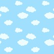 Seamless pattern with cartoon clouds