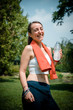 beautiful woman fitness drinking water
