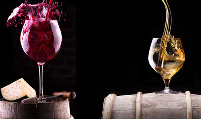 Cognac, wine and  barrel with food