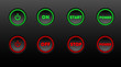 Neon buttons vector icon set on black bacground