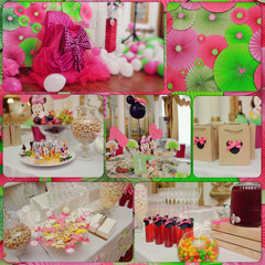 collage, children's birthday party with beautiful scenery