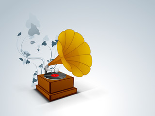 Stylish musical background with gramophone.