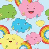 kawaii clouds seamless light pattern - 54657696