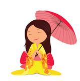 Kawaii japanese girl with red umbrella - 54657850