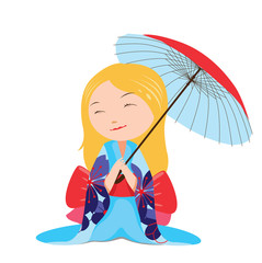 Kawaii japanese girl with blue umbrella