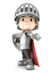 3d render of a cute knight boy pointing his sword