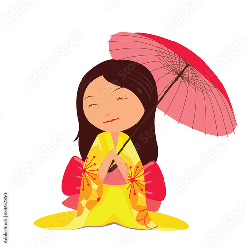 Kawaii japanese girl with red umbrella