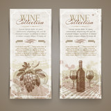Wine and winemaking - vintage banners with hand drawn elements