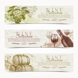 Fototapety Wine and winemaking - vintage banners with hand drawn elements