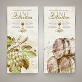 Vintage vector vertical banners with hand drawn grapes and casks - 54658067