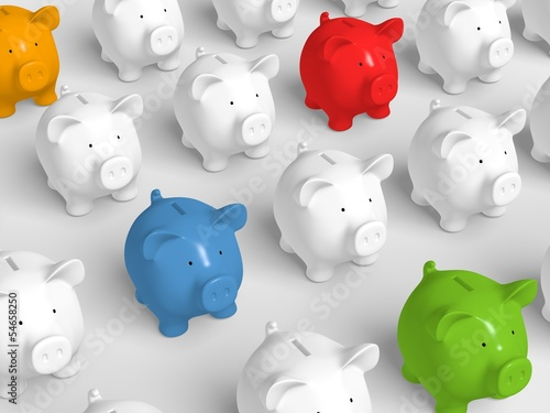 Piggy bank - grid with colored pigs