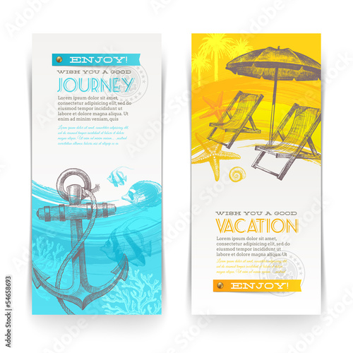 Vacation and travel banners with hand drawn elements