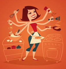 Woman cooking breakfast. Household series.