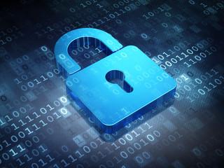 Safety concept: Blue Closed Padlock on digital background