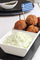 Greek meatballs with tzatziki