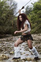 beautiful young strong hunter warrior woman