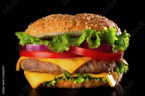 Fototapeta Burger close-up on black background