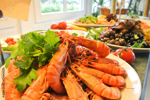 Leckeres Scampi Buffet
