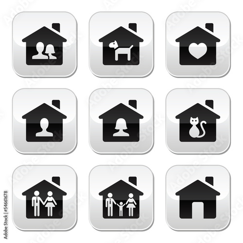 Home, family vector buttons set