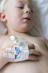 Little sick boy in hospital going for surgery