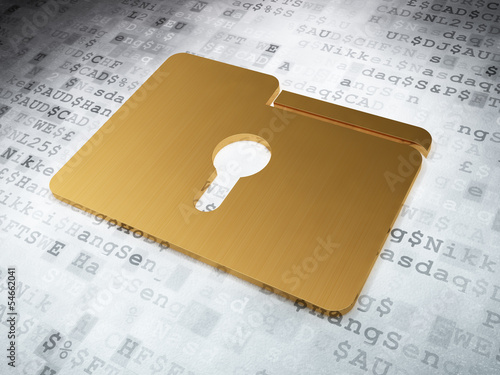 Finance concept: Golden Folder With Keyhole on digital backgroun