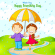 vector illustration of friend celebrating Friendship Day in rain