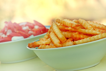 French fries and tomato salad