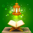 illustration of holy book of Quran with lamp on Eid Mubarak