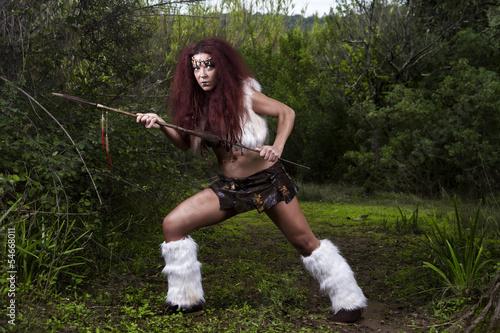 beautiful young strong hunter warrior woman