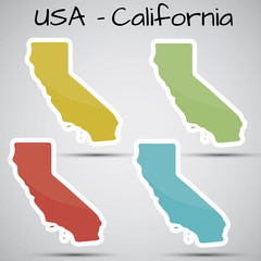 stickers in form of California state, USA