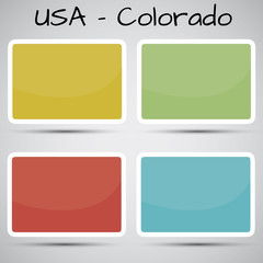 stickers in form of Colorado state, USA