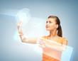 woman working with virtual screen