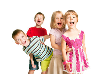 Group of children having fun, playing, screaming.