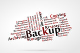 Backup word cloud with data background
