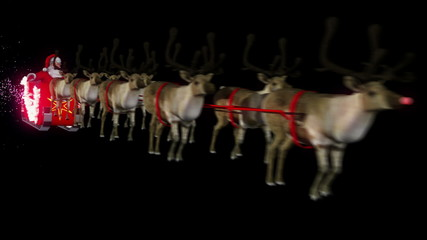 Santa and reindeers perspective close