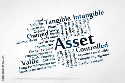 Asset word cloud with data sheet background