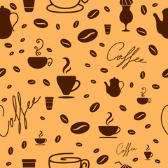 Vector Illustration of a Seamless Coffee Background